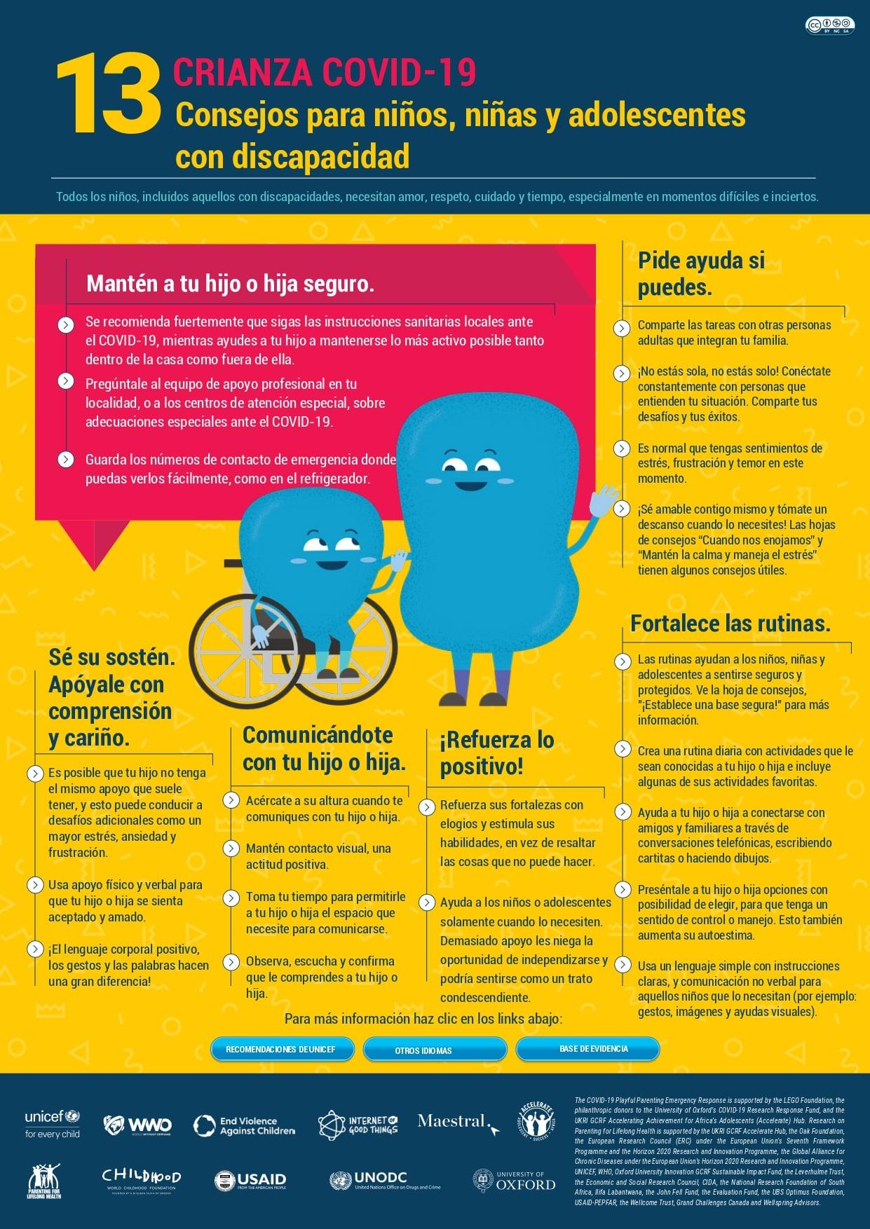 consejos para niños, niñas y adolescentes con discapacidad